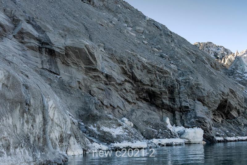 Lateral moraine, Rolige Brae Glacier, Rodefjord, Scoresby Sund, Greenland