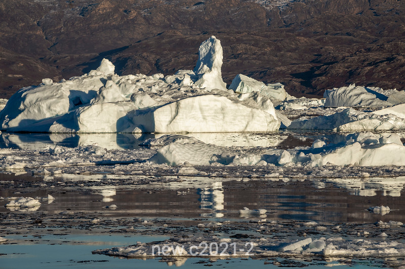 Jumbled ice from the Vestfjord Glacier piling up in Rodefjord, Scoresby Sund, East Greenland