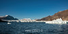 Front face of the Rolige Brae Glacier with icebergs, Rodefjord, Scoresby Sund, East Greenland