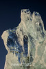 Ice sculpture against dark blue, Rodefjord, Scoresby Sund, East Greenland