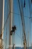 Up the mast for a higher viewpoint, Rodefjord, Scoresby Sund, East Greenland