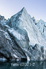 Lateral moraine with ice pyramid, Rolige Brae Glacier, Rodefjord, Scoresby Sund, Greenland