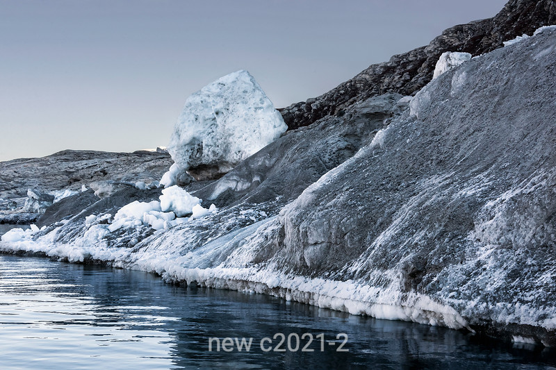 Lateral moraine with sand and ice, Rolige Brae Glacier, Rodefjord, Scoresby Sund, East Greenland