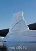 Backlit iceberg tower with blue streak, Rodefjord, Scoresby Sund, Greenland
