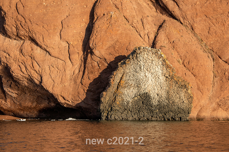 Basaltic dyke in red cliffs of Rode O, Rodefjord, Scoresby Sund, East Greenland