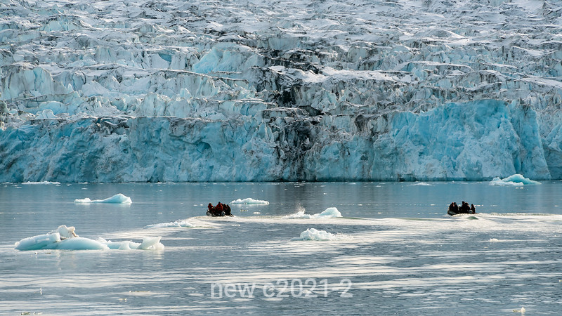 Zodiacs heading to the front face of the Bredegletcher, Vikingebugt Inlet, Scoresby Sund, Greenland