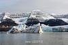 Bergy bits at the glacier front, Bredegletcher, Vikingebugt Inlet, Scoresby Sund, Greenland