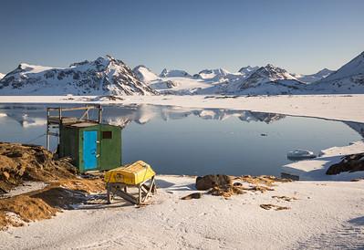 Kulusuk bay at sunrise, East Greenland