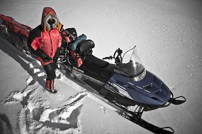 Steven Andrews clothed for cold weather travel, Henrik Moller Dal, North-East Greenland