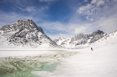 Adam passing meltwater channels, East Greenland