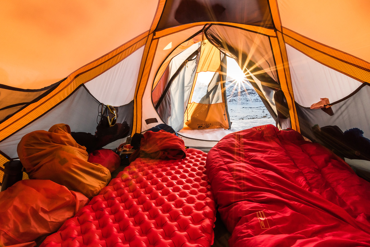 Sunset from inside a tent, Tasiilap, East Greenland