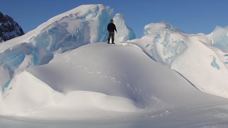 31 Gert atop iceberg frozen in fjord
