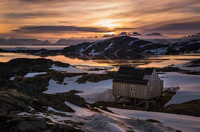 House at Kulusuk at sunset, East Greenland