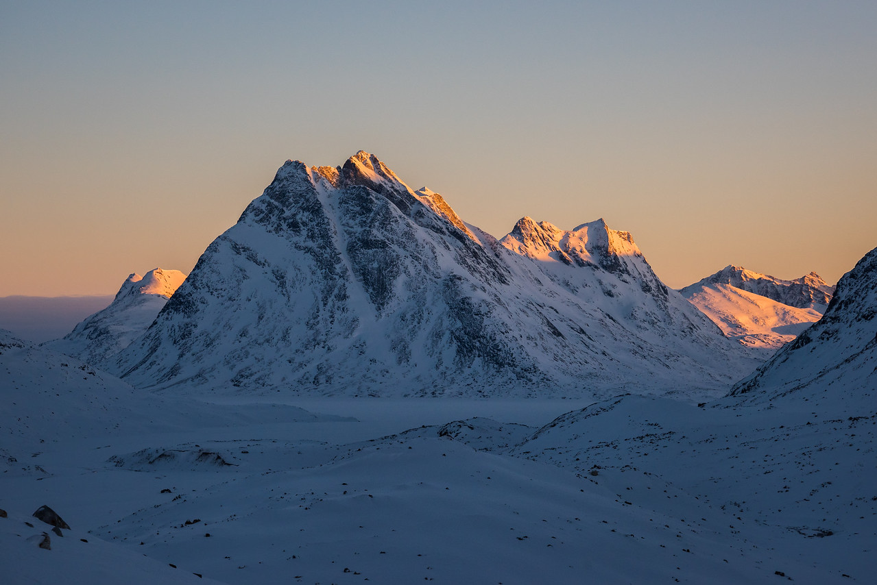 Unnamed mountain and North Couloir we skied, East Greenland