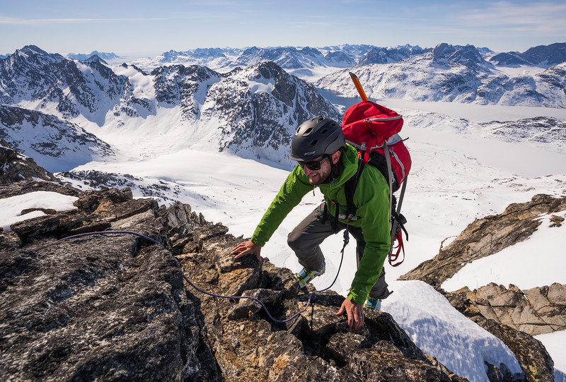 Chris Ball climbing, Tasiilap, East Greenland
