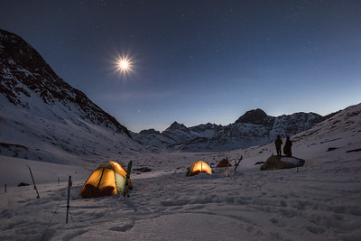 Full moon over our camp, East Greenland