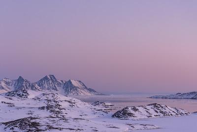Twilight over Ammassalik Fjord, East Greenland