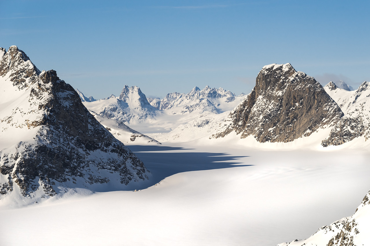 View north into the lower Kaarali basin, East Greenland