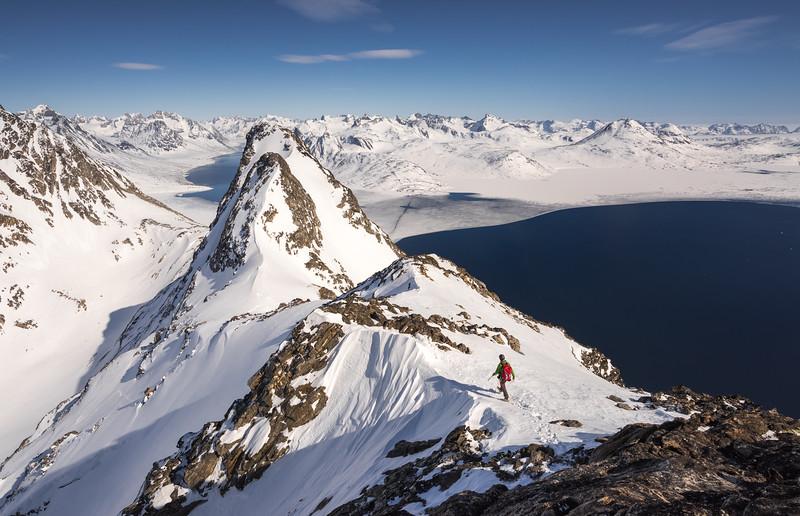 Chris Ball on a ridge near Kuummiit, East Greenland