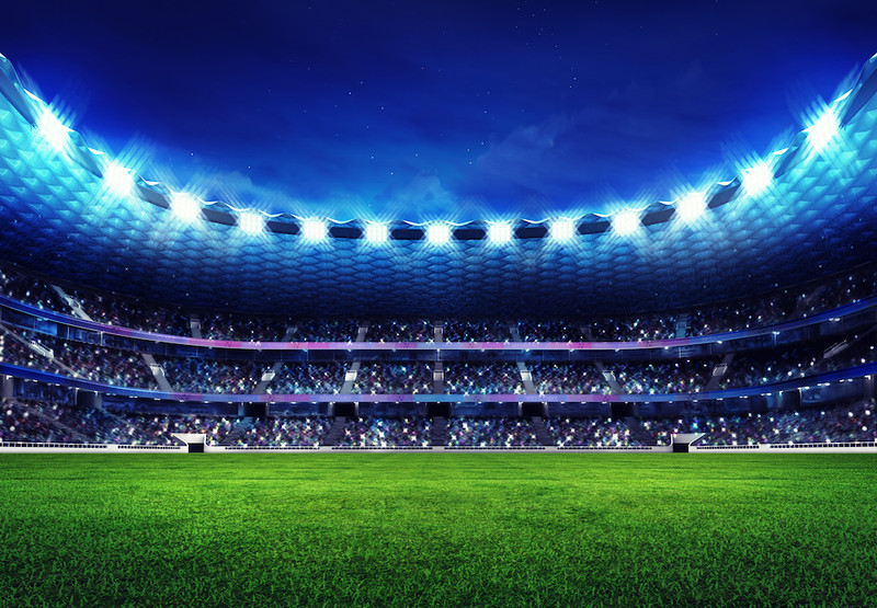 modern football stadium with fans in the stands