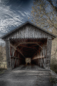 Bennett's Mill Covered Bridge HDR Portrait