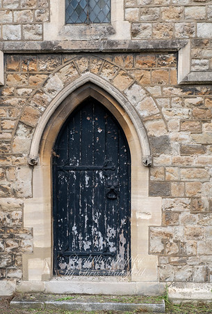 Aug' 1st 2019.  Charlton cemetery .  Side door of Anglican chapel