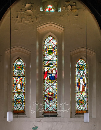 Aug' 1st 2019.  Charlton cemetery,  Anglican chapel, stained glass window.