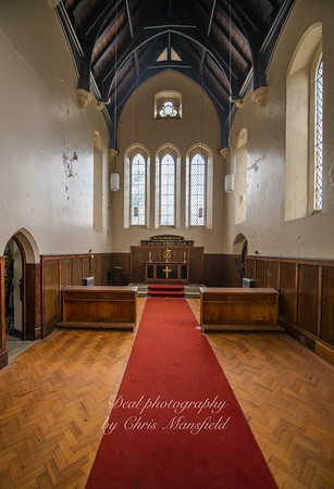 Aug' 1st 2019 .  Charlton cemetery. Anglican chapel interior ( now disused )
