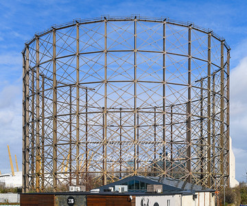 Feb' 29th 2020 . Greenwich gas holder being dismantled