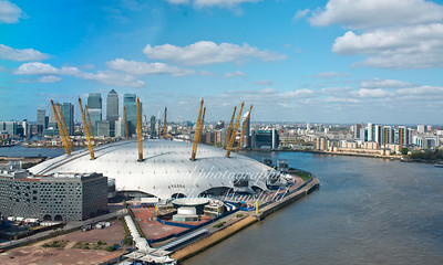 April 14th 2014. The O2 dome and canary wharf taken from the Emirates cable car