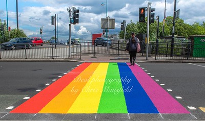 June 15th 2019.  Rainbow crossing at Plumstead bridge.   These have been installed temporarily in several locations to show the support of the Royal borough of Greenwich  for Pride week ,  an annual worldwide celebration of the LBGTQ  community