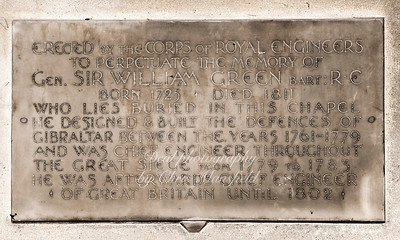 """Oct' 31st 2018 . St Nicholas church interior . memorial plaque ...  """"Erected by the corps of Royal Engineers, to perpetuate the memory of , Gen' Sir William Green BAR't  R.E.   born 1725, died 1811..who lies buried in this chapel .. He designed and built the defences of Gibraltar between the years 1761-1769..and was chief engineer throughout the great siege from 1779-1783..He was afterwards chief engineer of Great Britain until 1802"""