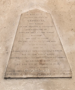 """Oct' 24th 2018. St Nicholas church interior, memorial plaque ..""""To the glory of Georgina, the wife of Lt Colonel Pester Ry Artillery and daughter of General sir john and Lady Emily Macleod. She died at Corfu on the 10th February 1853 aged 55 years.  Also of cadet Henry Schomberg Pester. son of the above named who was accidentally drowned near Alexandria, on his way to India on the 7th December 1850 aged 17 years"""
