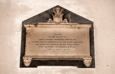 """Oct' 24th 2018 .  St Nicholas church interior .. Memorial stone ...""""Sacred to the memory of Lieut' General Robert Douglas senior commandant of the royal artillery and director general of the field train, who was born 14th August A.D. 1744.. Died 4th April A.D. 1827"""