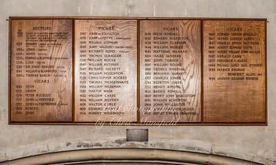 Oct' 24th 2018.  St Nicholas church ...  Names of past Vicars and Rectors