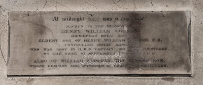"""Oct' 31st 2018.  St Nicholas church interior ,  memorial plaque ...........  """"At Midnight there was a cry made ..sacred to the memory of Henry William Gordon..Midshipman Royal Navy ..Eldest son of Henry William Gordon C.B. ..Controller Royal Arsenal , who was lost in HMS Captain off Cape Finisterre..On the night of September 7th 1870, aged 16..Also of William Enderby, his second son..whose remains are interred in Charlton cemetery"""