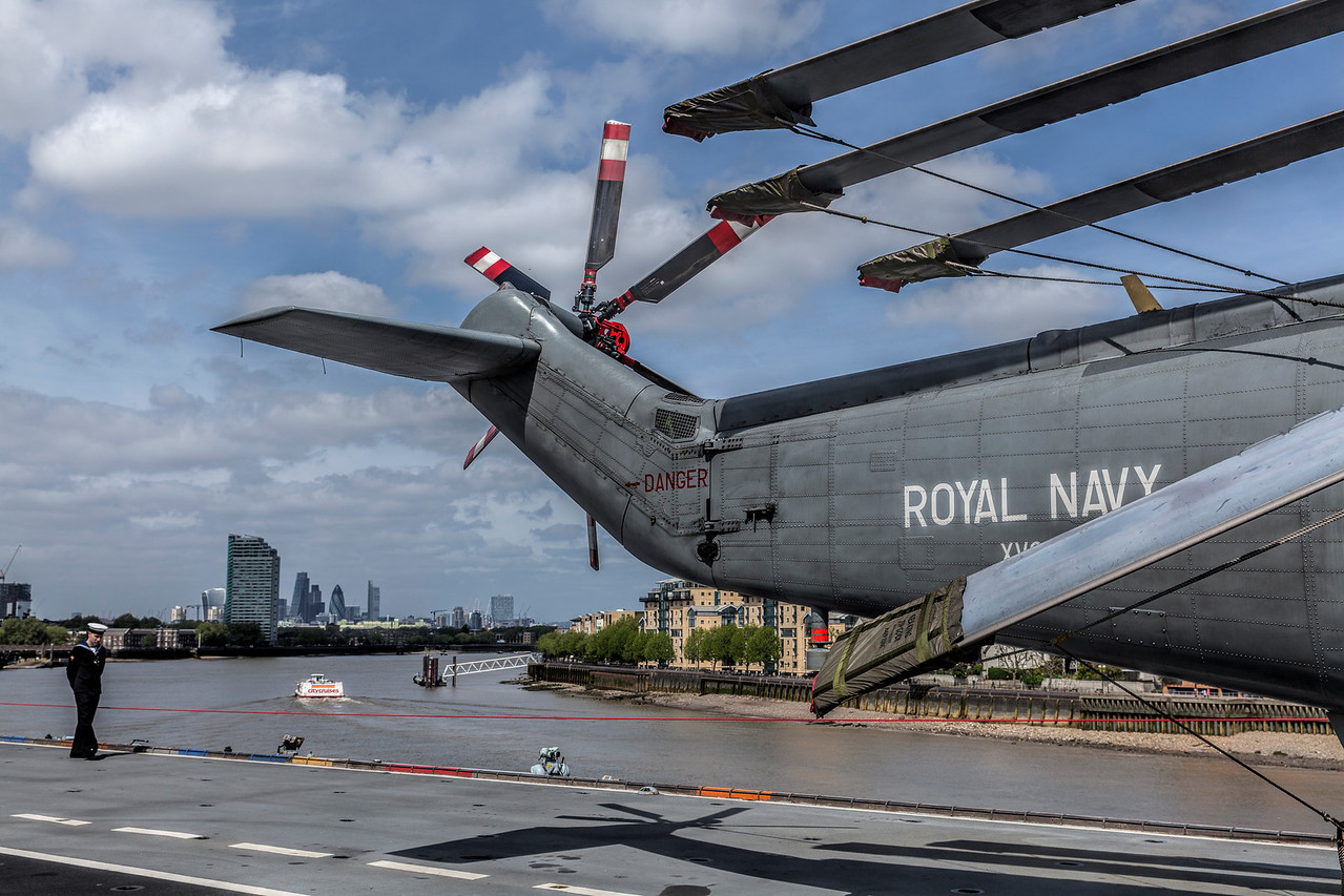 Helicopter on the deck of the Royal Navy Helicopter Carrier HMS Ocean