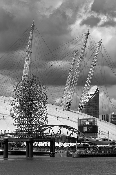 O2 Arena Roof - Black and White Stormy Clouds