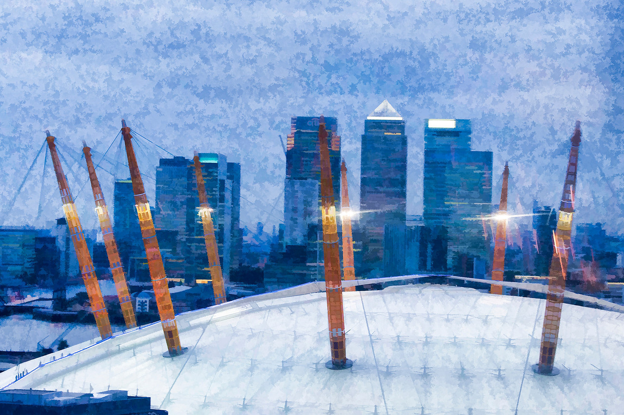 The O2 Arena Roof and Docklands in London, England