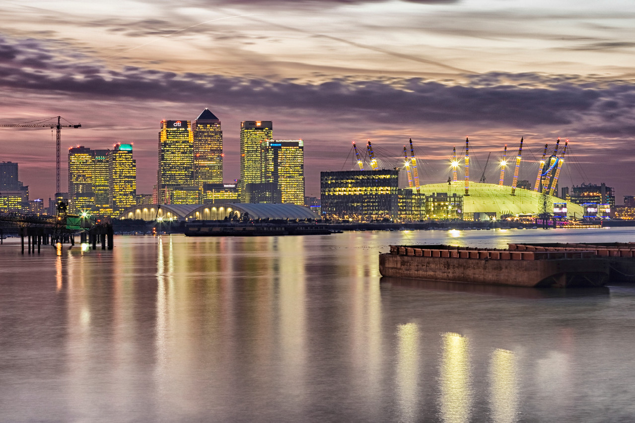 Night View of London's Docklands and the O2 Arena at Greenwich
