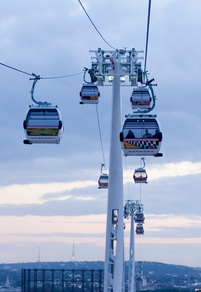 Cable Cars over the River Thames at Greenwich