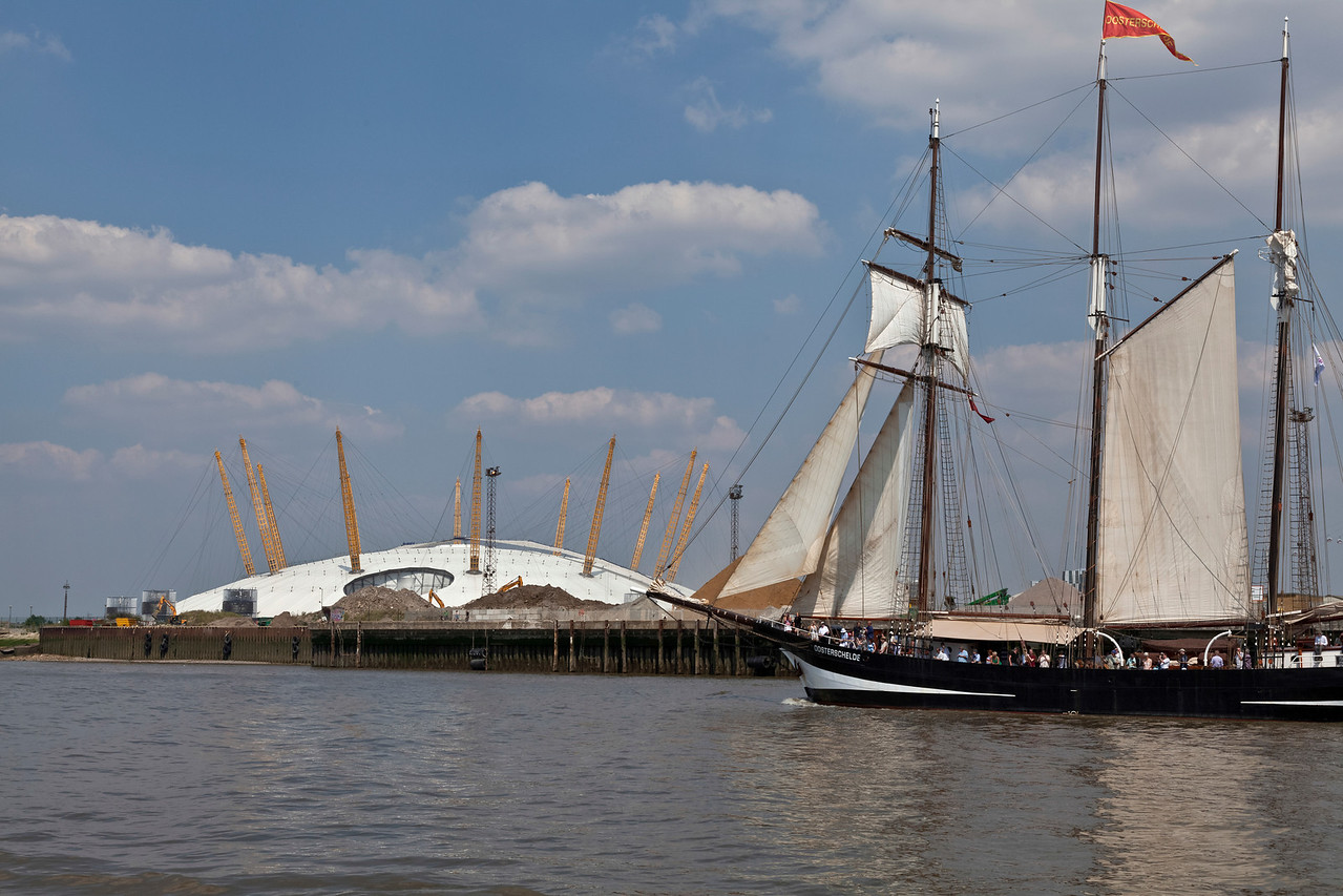 Dutch tall ship Oosterschelde on the River Thames by the O2 Arena