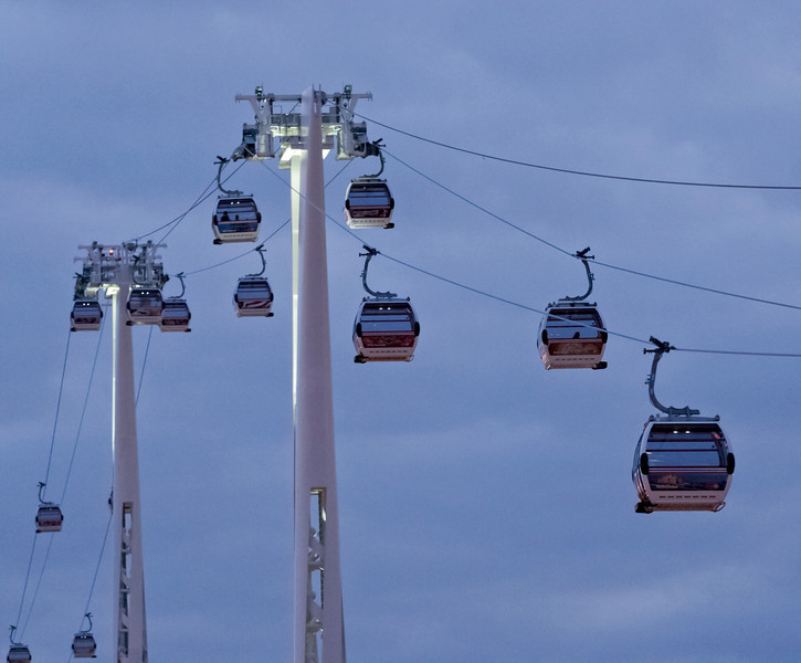 Cable Cars over the River Thames at Greenwich.