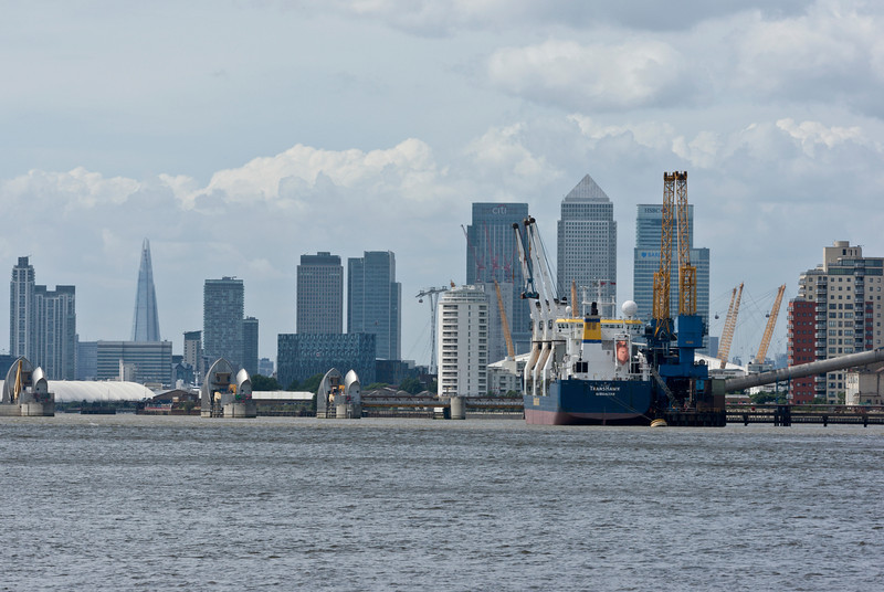 Container Ship, The Thames Barrier and Docklands, London