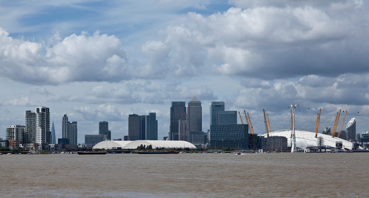 View of Docklands, the O2 Arena and The Shard.