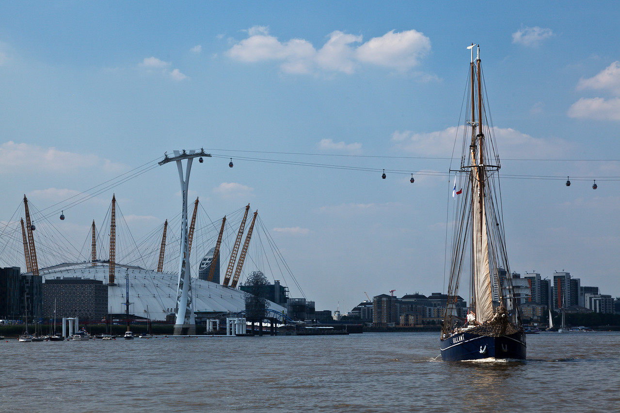 Dutch Tall Ship Gallant in front of the O2 Arena at Greenwich in South London