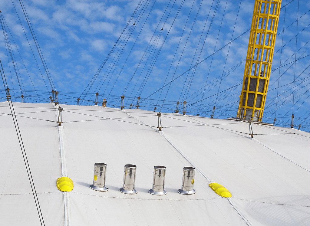Roof of the O2 Arena at Greenwich in South London, England