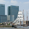 Dutch tall ship Loth Lorien at Canary Wharf in London's Docklands