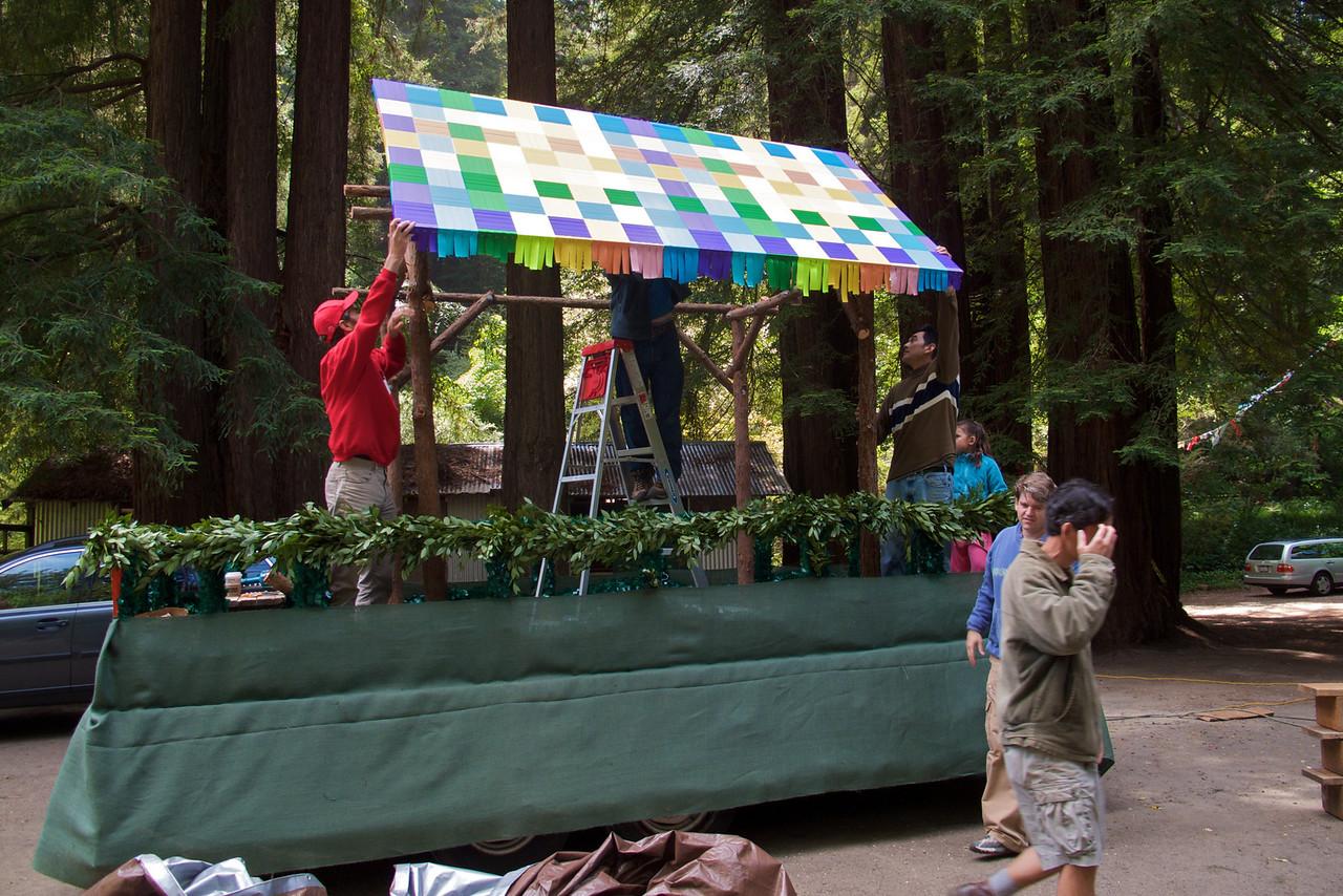 Greenwood School Memorial Day Float Setup