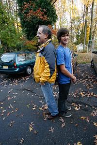 Bob and Greg compare height (Greg Howard driving with Bob Boynton, Bill, Victor November 2009)
